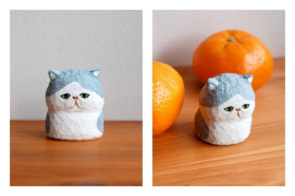 handmade, japonés, craft, buni puni, gatos de madera tallada a mano